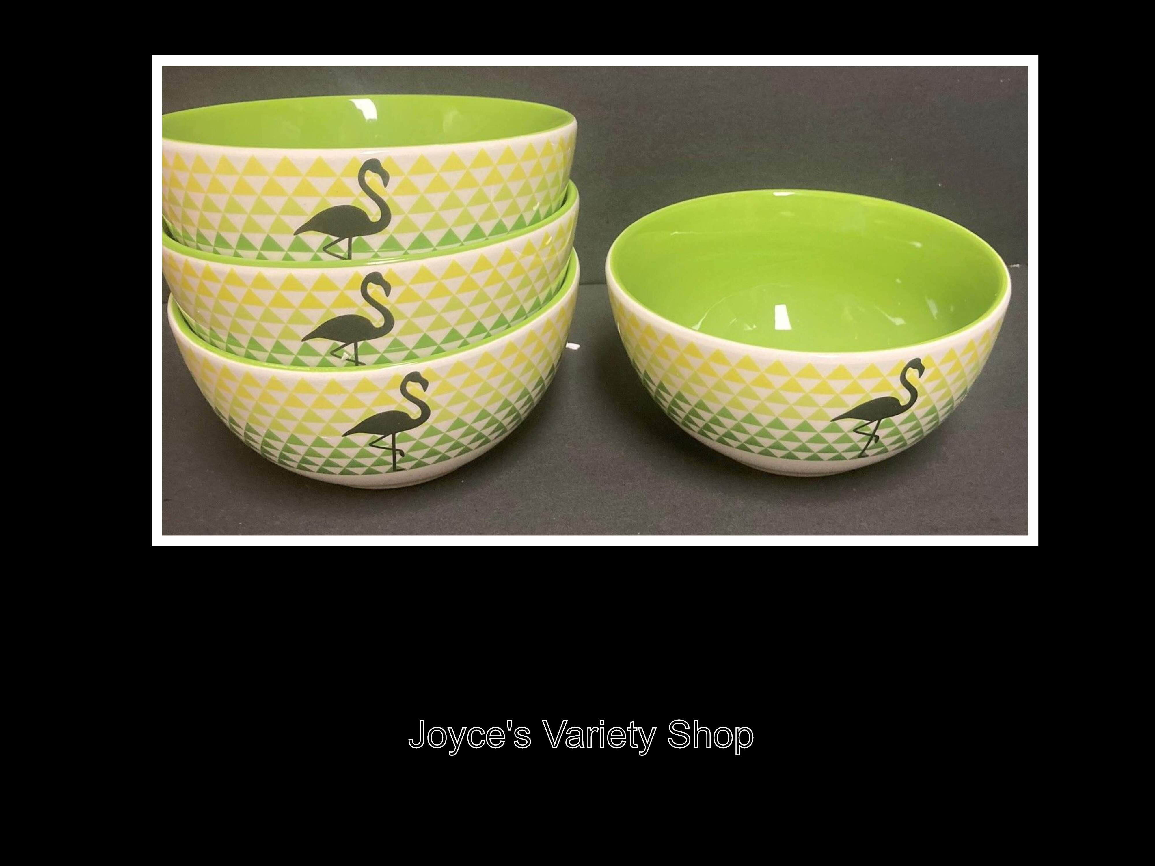 "Ceramic Decor Cereal Soup Bowls Flamingo Green & Yellow Design 6"" Set of 4"