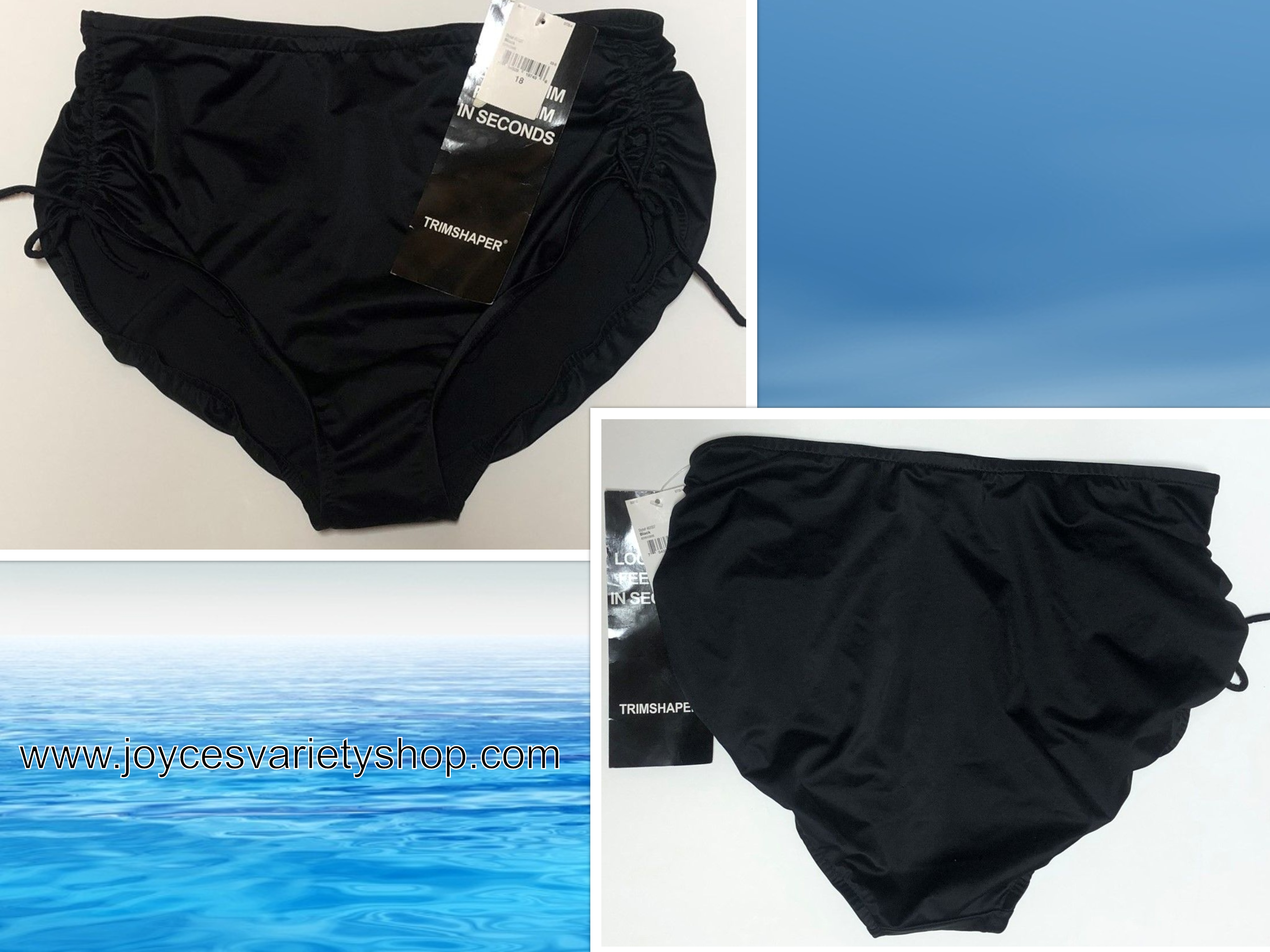 Trimshaper Swim Bottoms Black Sz 18 Women Stretch