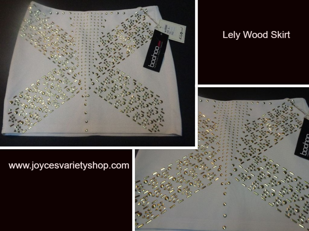 Lely Wood White Mini Skirt With Gold Accents SZ Large