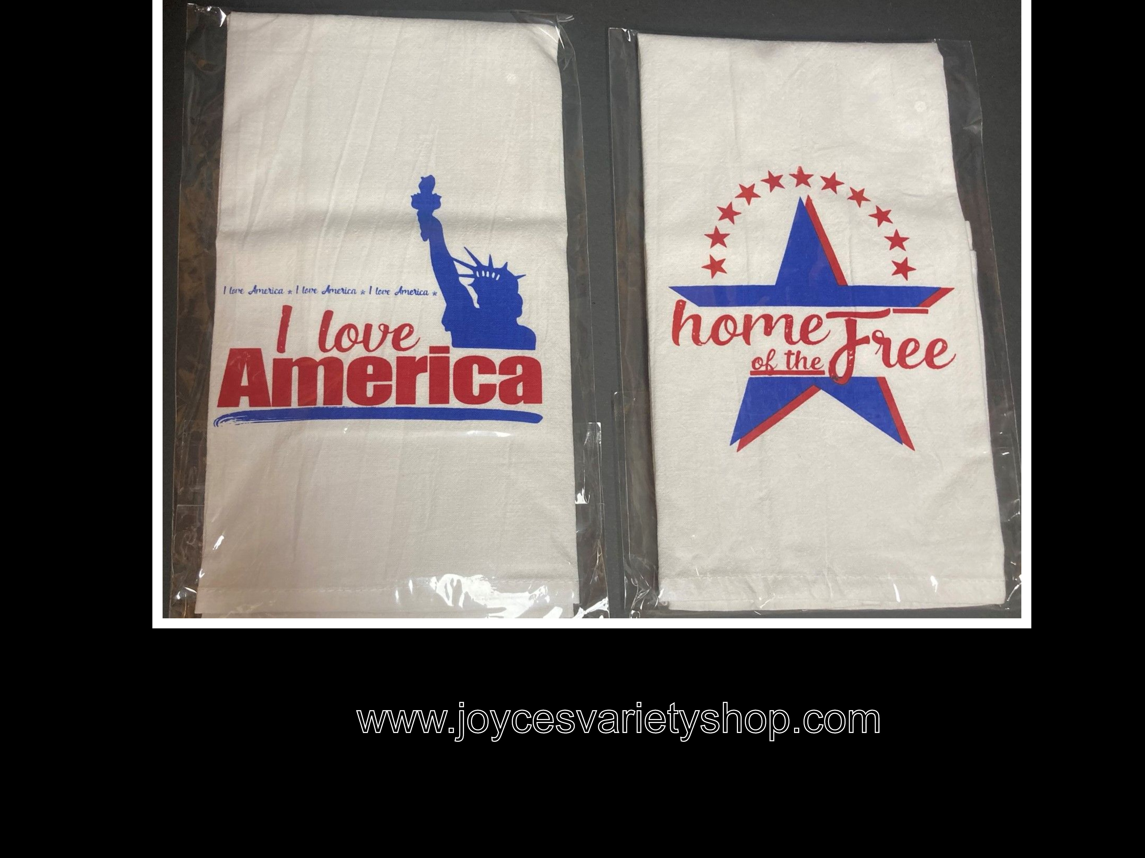 "Flour Sack Towel Absorbent Linen 28"" x 28"" Love America or Home of The Free"