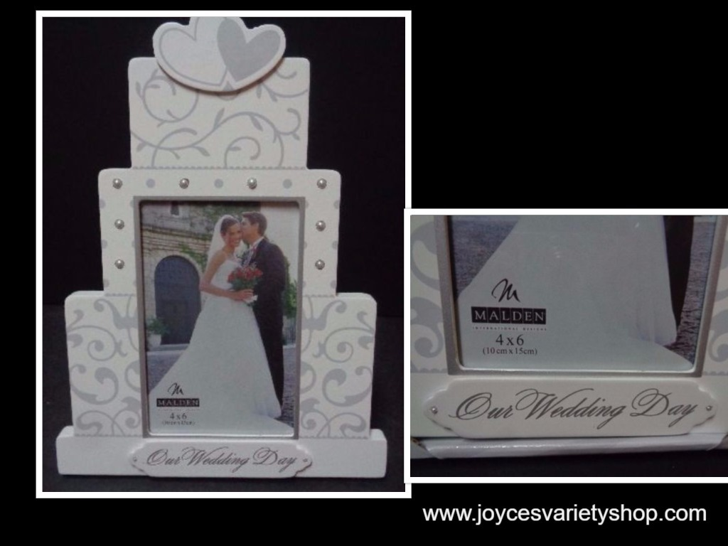 "Our Wedding Day Wood 10"" x 8"" Photo Frame Cake NWT Malden 4 x 6 photo"