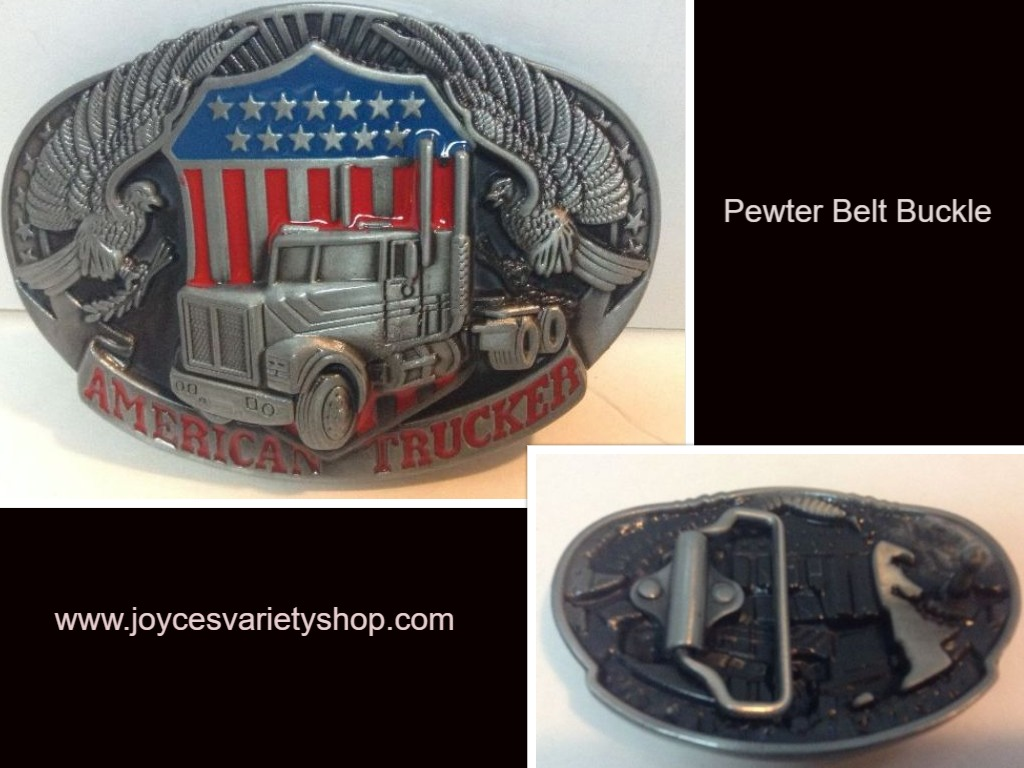 American Trucker Belt Buckle NEW Pewter Finish Patriotic Eagle