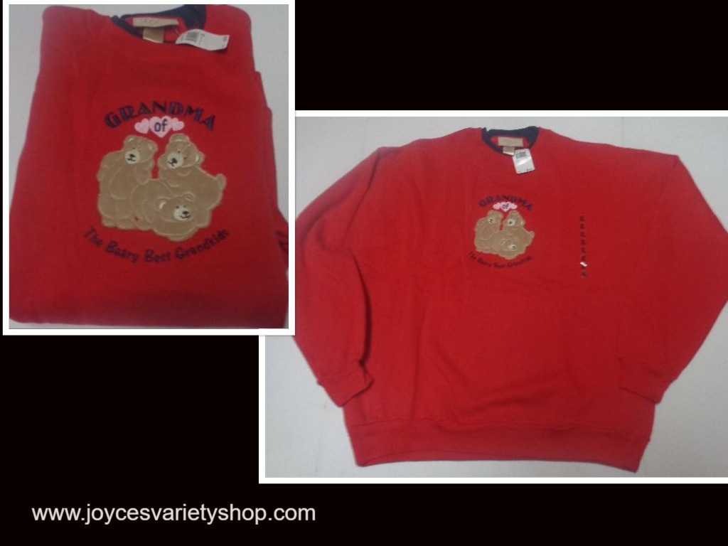 GRANDMA OF THE BEARY BEST GRANDKIDS Fleece Sweatshirt NWT SZ XL