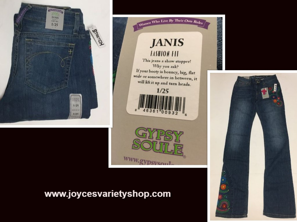 Women's Gypsy Soule Fashion Fit Blue Jeans Janice Stretch Sz 26,28, 30 Waist
