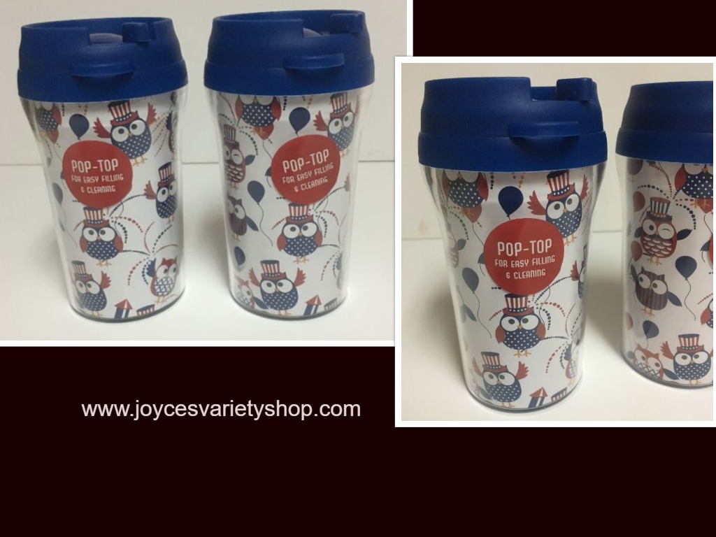 Patriotic Owl Design 10 Oz Travel Cups Pop Top Lot of 2