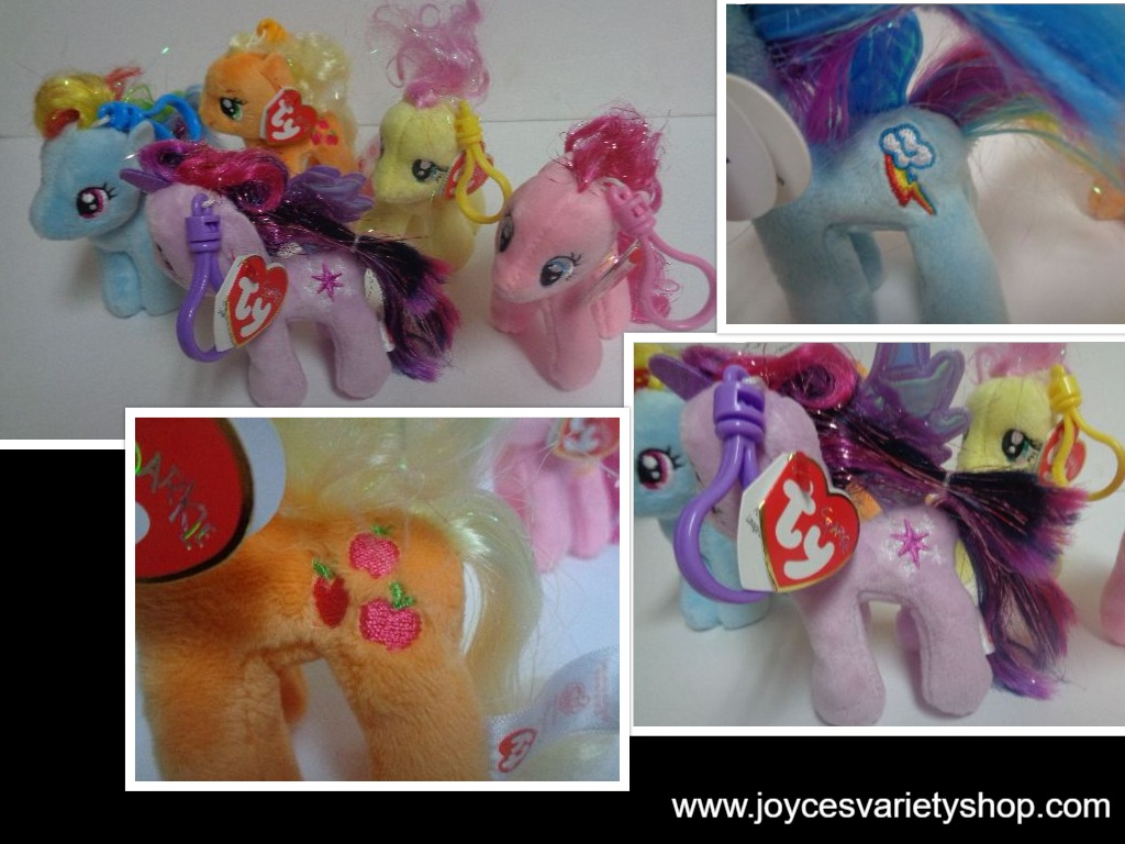"TY Sparkle My Little Pony NWT Set of 5 Stuffed Plush Ponies 4.5""H"