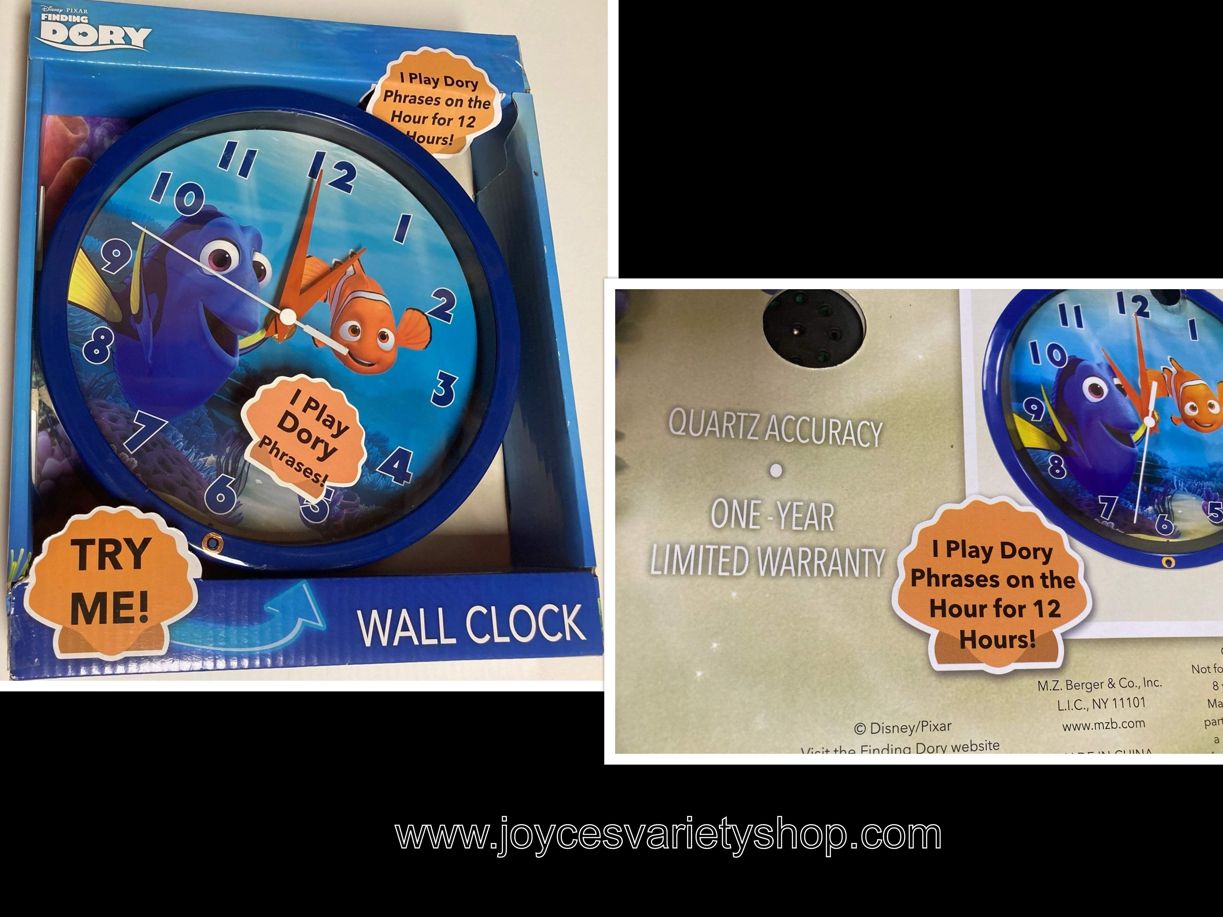 Disney Pixar FINDING DORY Wall Clock Plays Dory Phrases Requires 2 AA Batteries