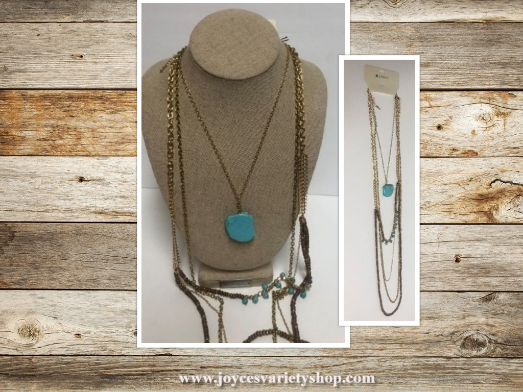 Turquoise Necklace Layered Multi-chain Boho Chic Multi-Color Stony Jewelry 23""