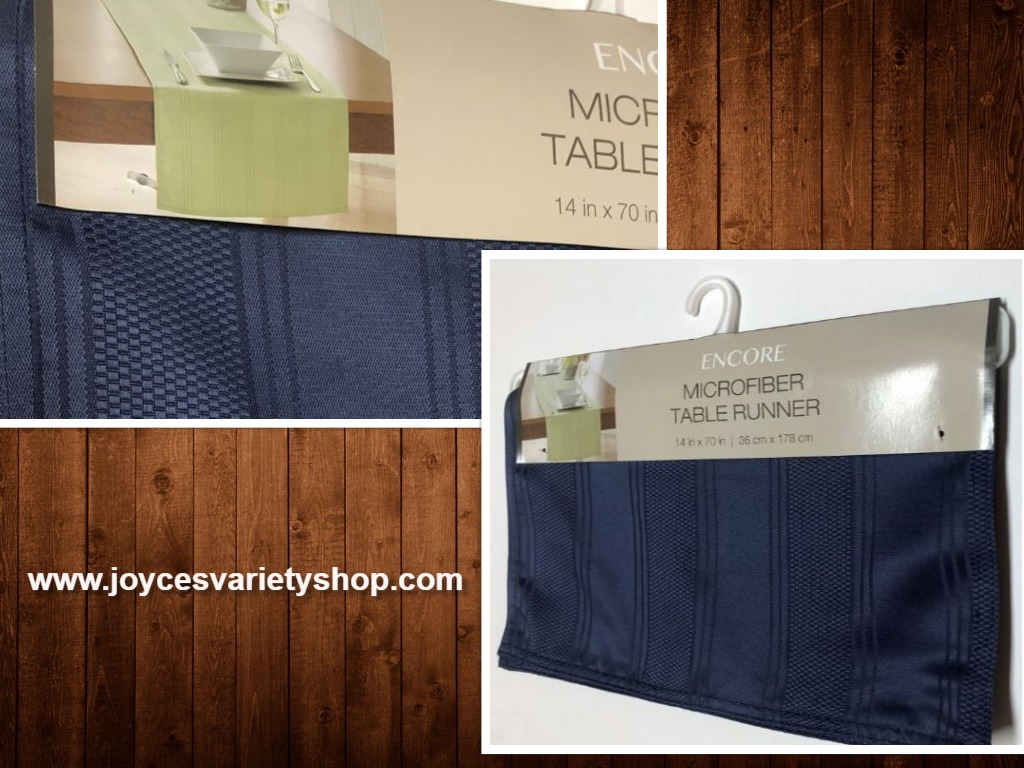 "Blue Table Runner Microfiber Stripe Fabric 14"" x 70"""