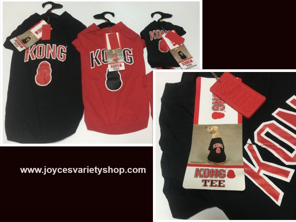Kong Dog Tees Shirts Red or Black Many Sizes