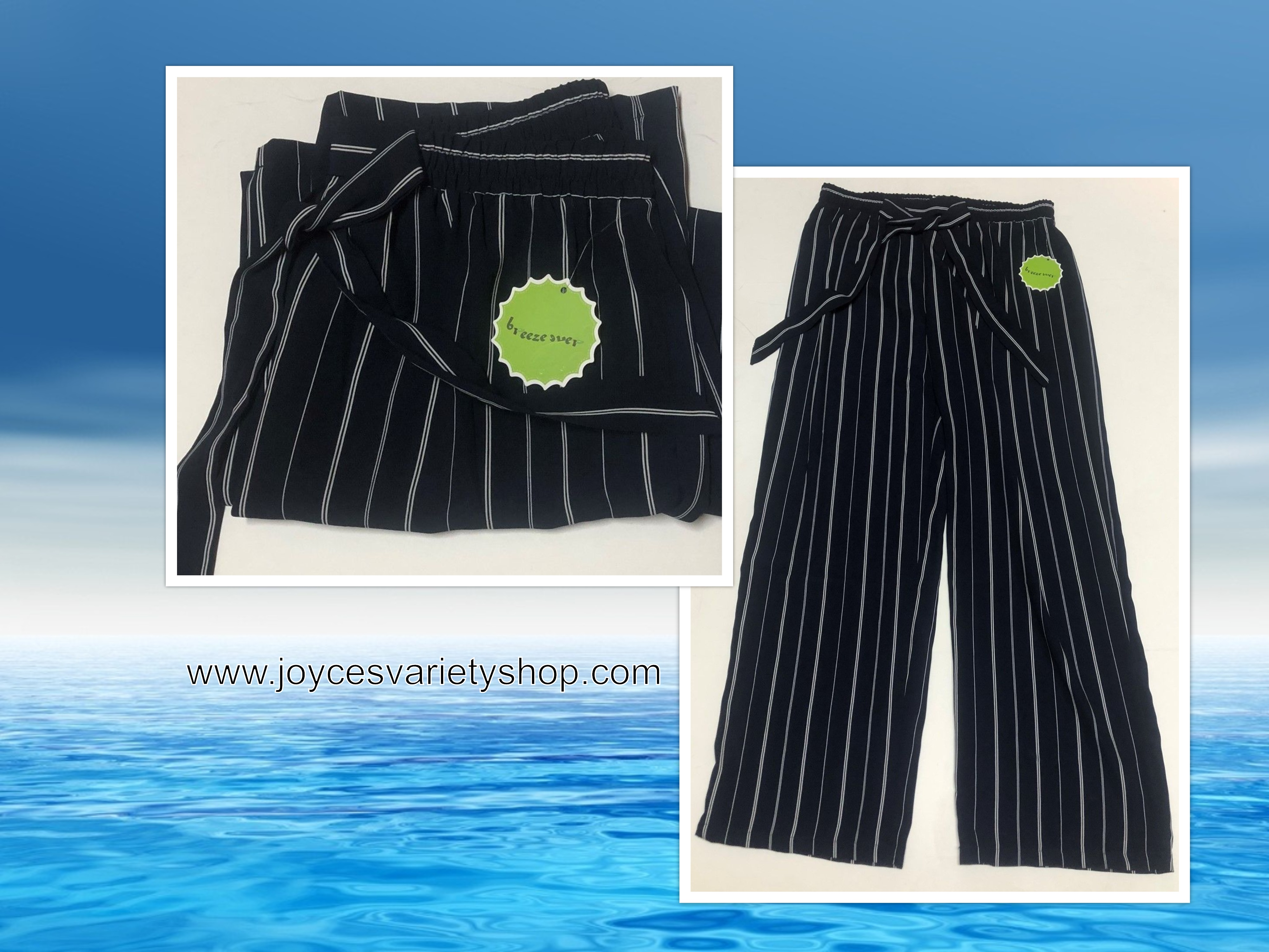 Breeze Ever Pants Stretch Soft Cool Beachwear Comfortable Sz XL Navy Striped