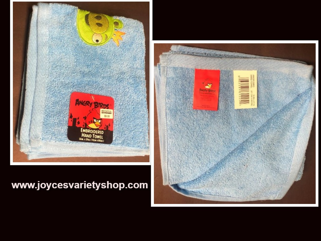 "Angry Birds Hand Towel Embroidered Blue 16"" x 27"" 100% Cotton"