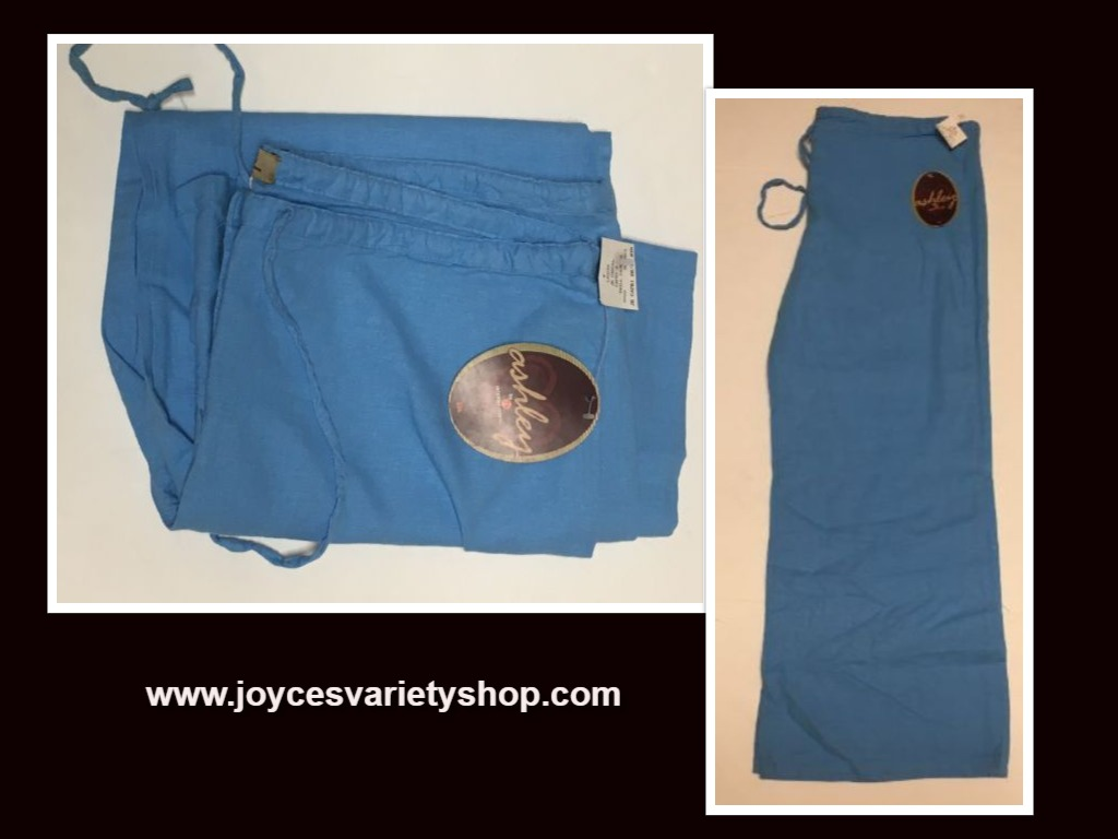 Ashley Junior Casual Capri Linen Pants Sz L Ocean Blue