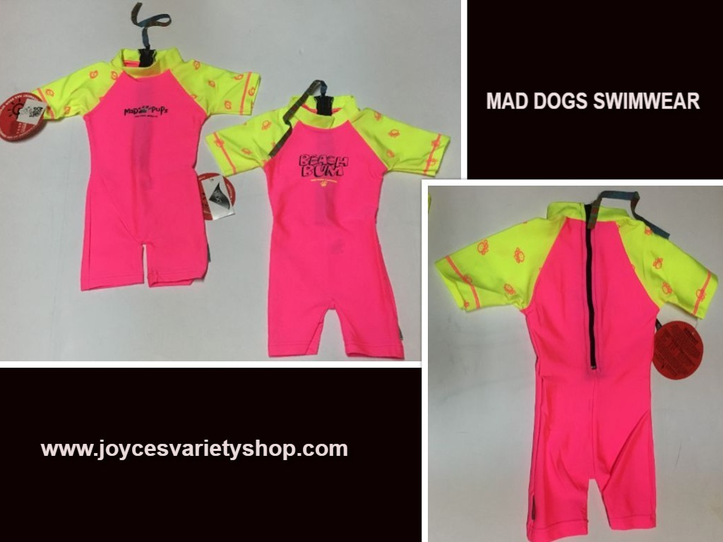 Infant One Piece Swimsuit Lycra 50 UPF 6-12 Months Pink Beach Bum or Mad Pups