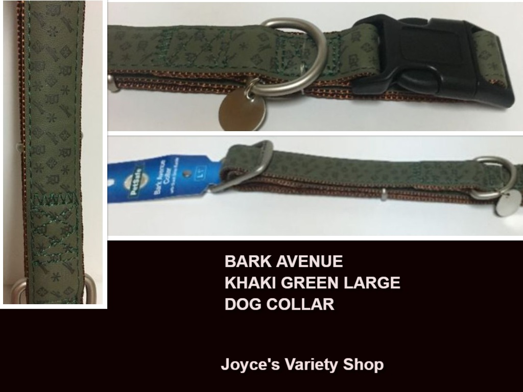 "Dog Collar Large Breed NWT Adjustable Khaki Green 27"" x 1""W Bark Avenue"
