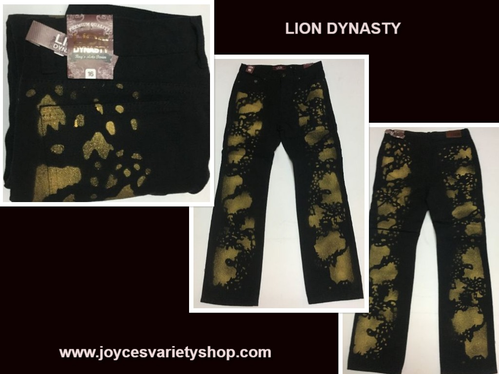 Lion Dynasty Black & Gold Jeans Boy's Moto Denim Sz 16