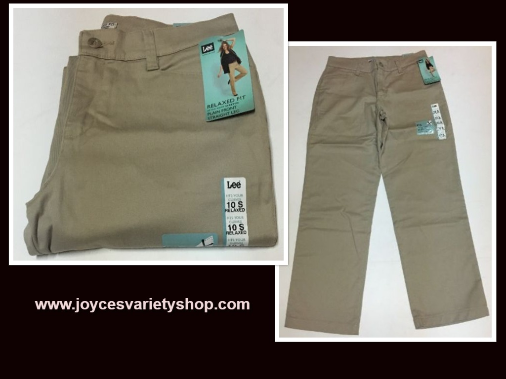 Lee Relaxed Fit Stretch Beige Pants Sz 10 Short Straight Leg