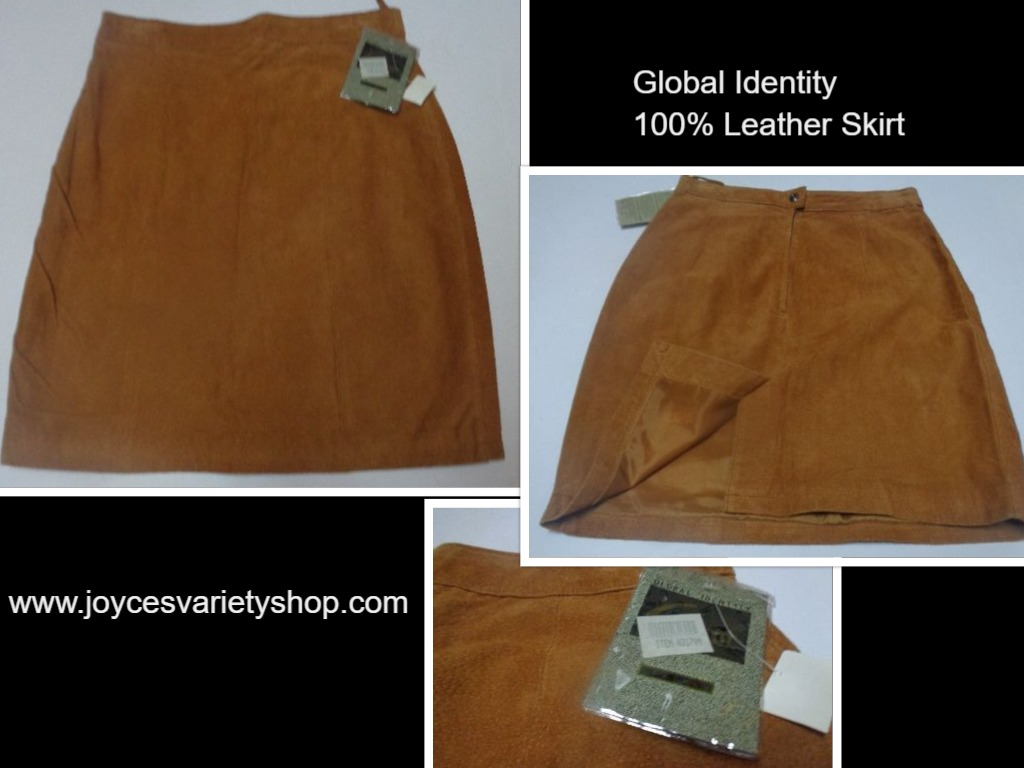 Global Identity Honey Brown Genuine Suede Leather Skirt NWT Sz 11/12