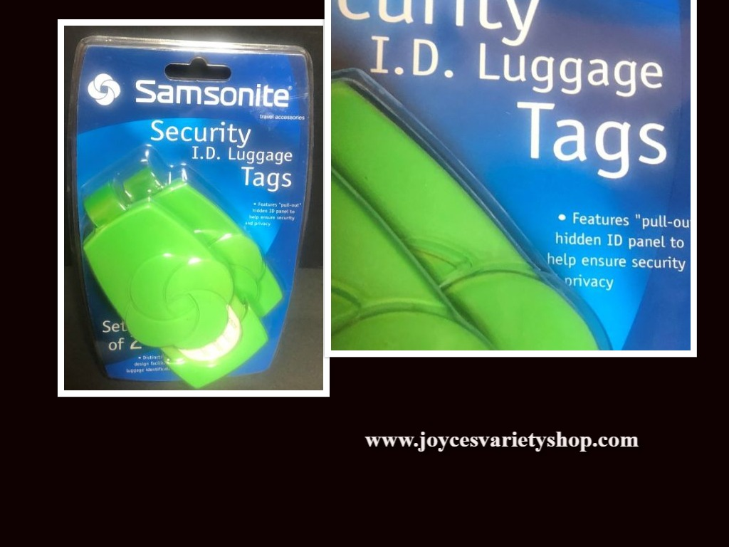 Samsonite Security I.D. Luggage Tags Set of 2 Lime Green