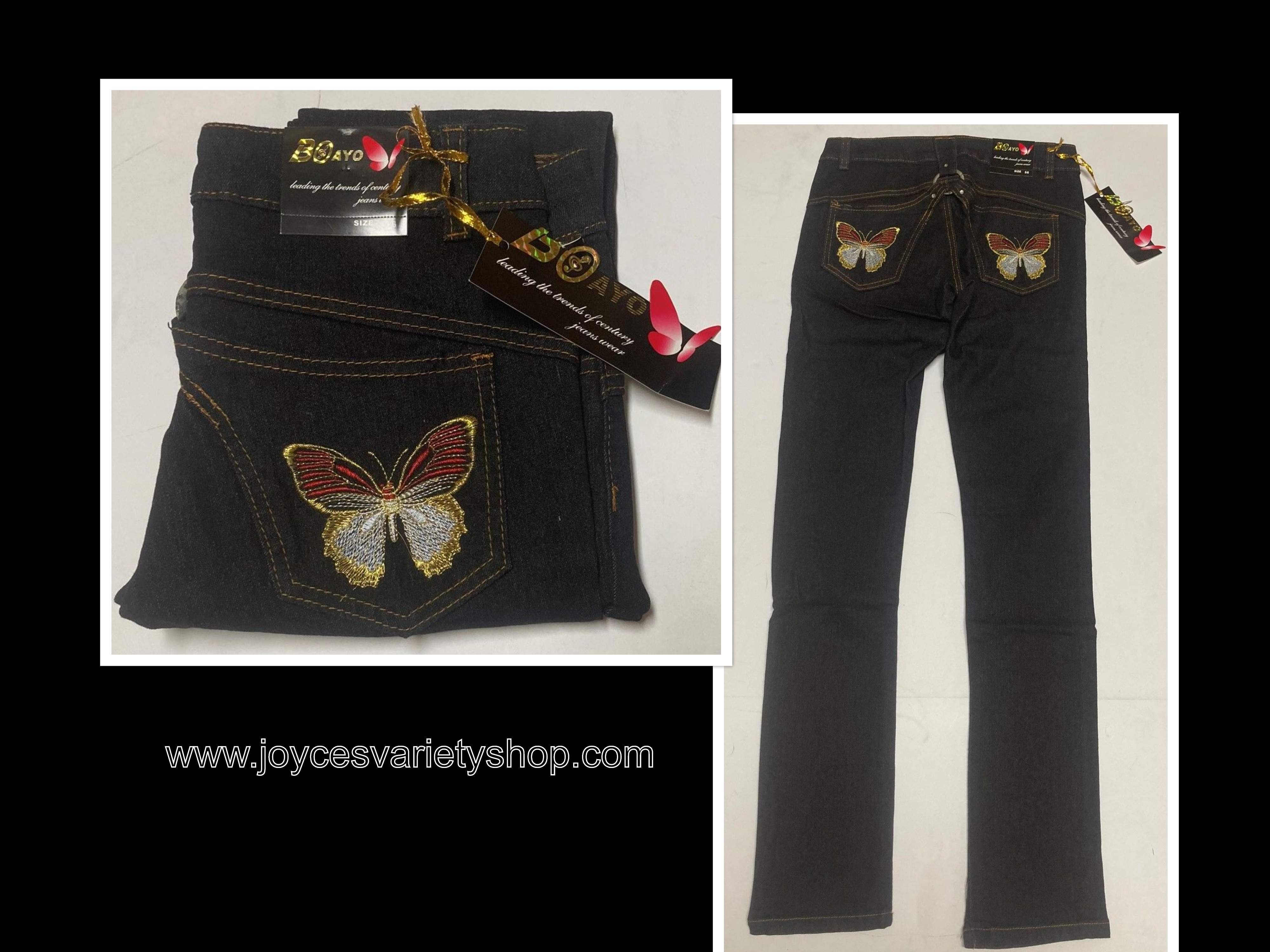 Boayo Black Jeans Indigo Stretch Red Butterfly Design Various Sizes
