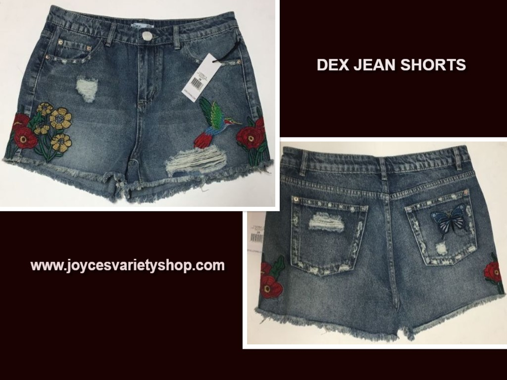 DEX Jean Shorts Embroidered Hummingbird Floral Distressed Sz 28