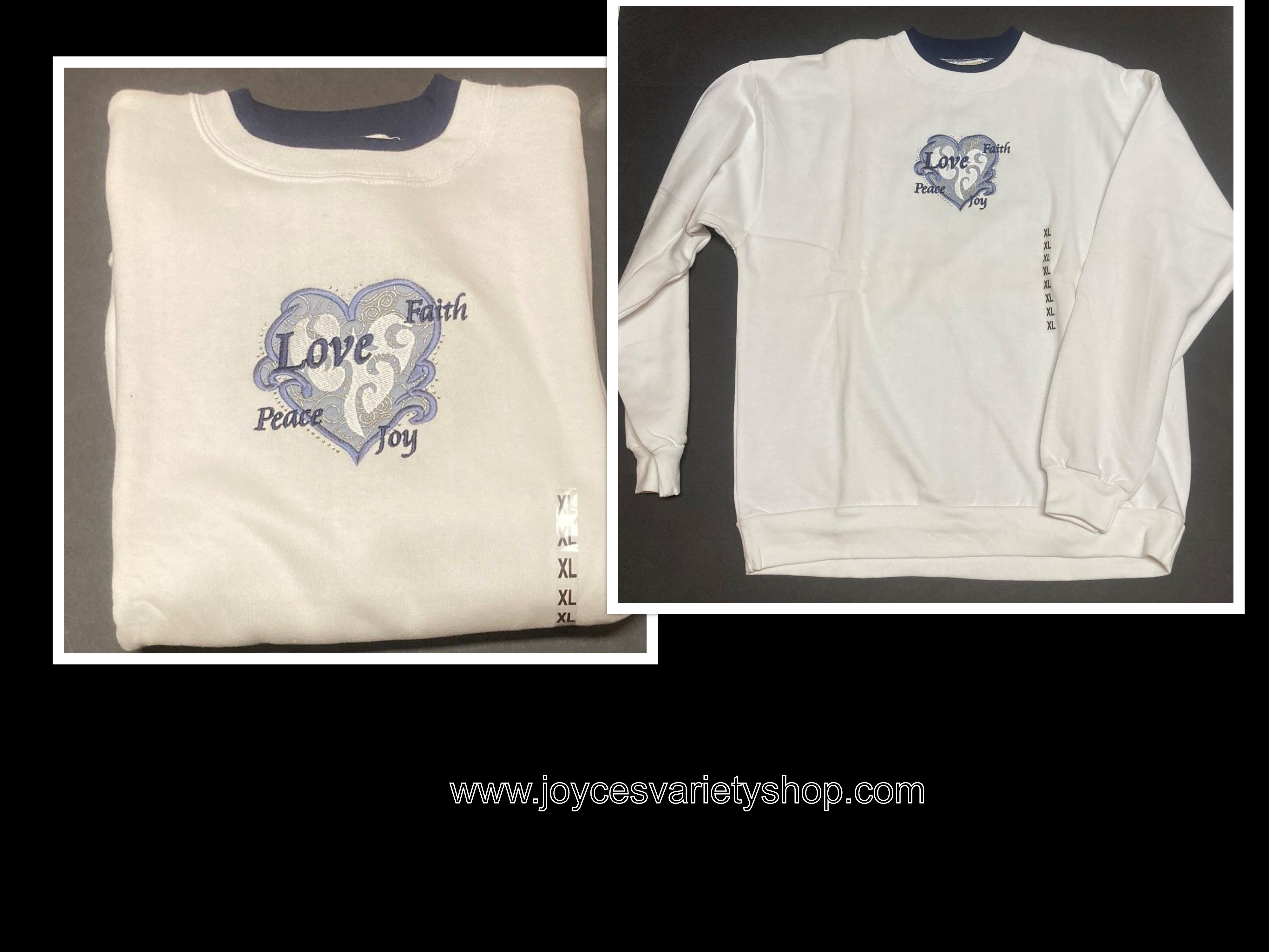 Women's Baggy Sweatshirt SZ XL White Fleece Heart Love Message