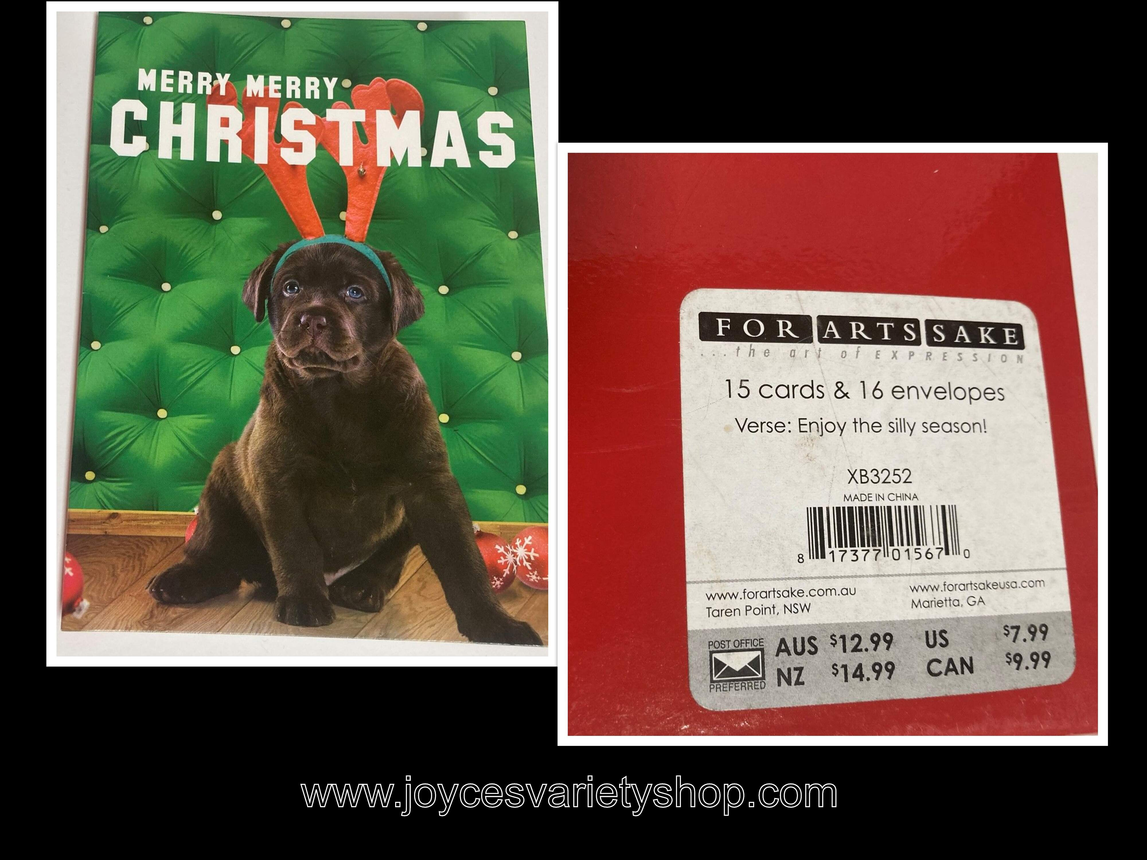 Christmas Cards & Envelopes Holiday Puppies Silly Season 15 Cards/Envelopes