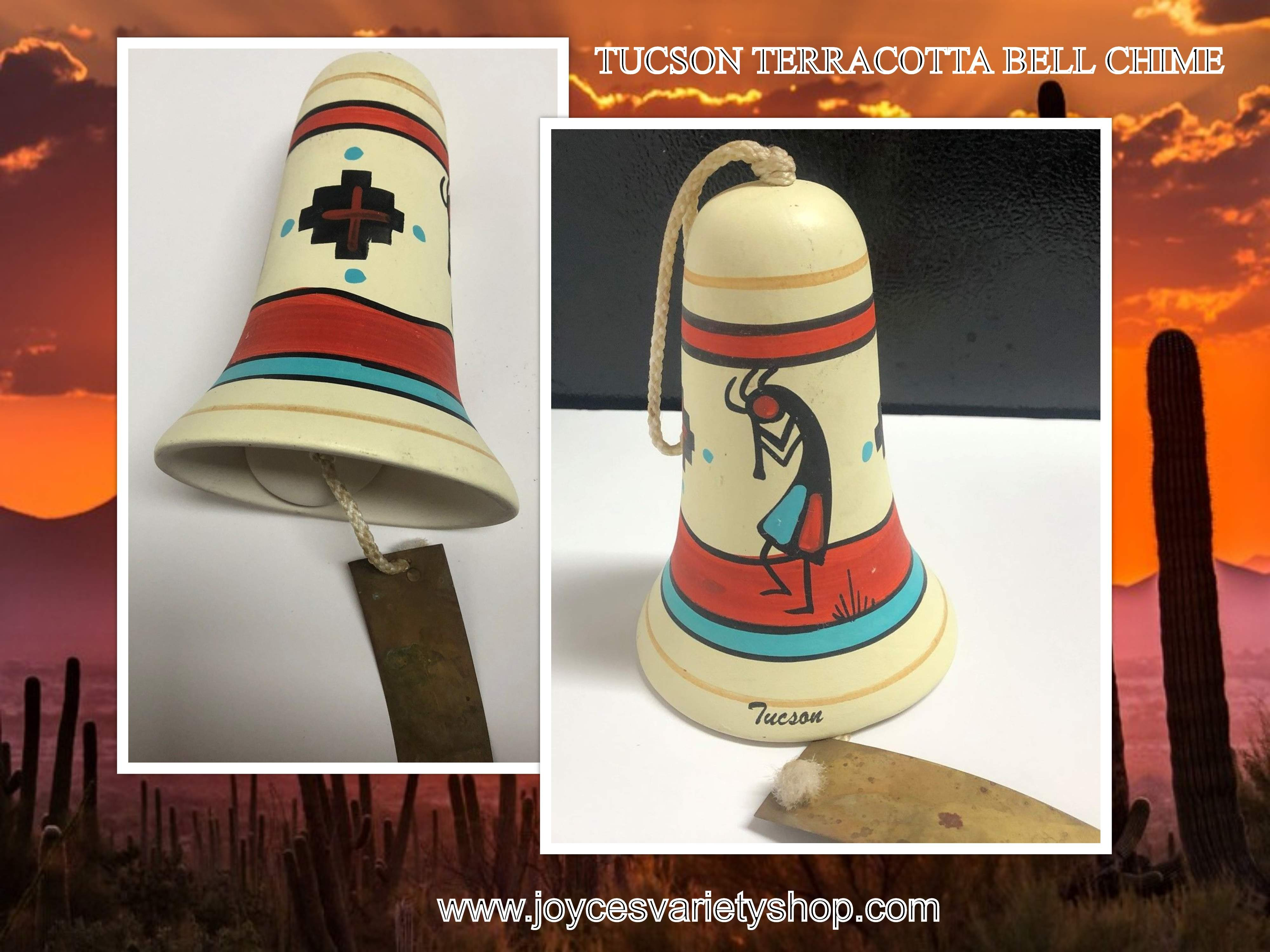 Tucson Arizona Hand Painted Terracotta Bell Chime 7""