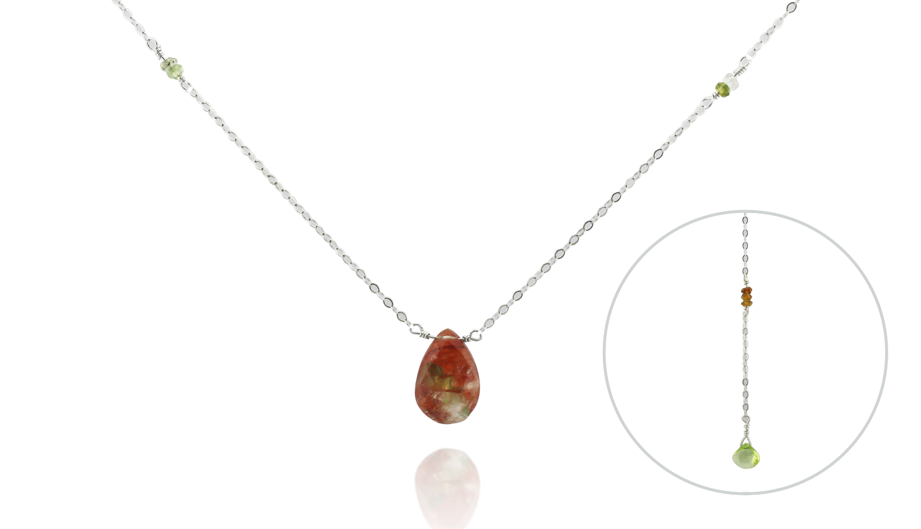 Peach Quartz + Tourmaline Back Drop Necklace