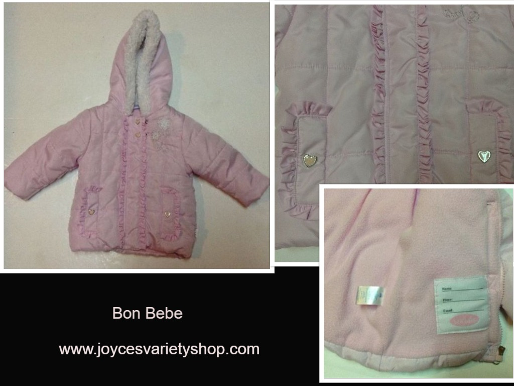 Bon Bebe Pink Coat Hearts White Faux Fur 18MO NNT Sewn In Idenification