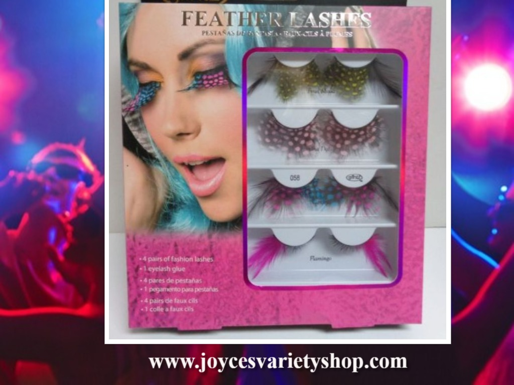 GLINTZ FASHION FEATHER EYELASHES SET OF FOUR NIB CLUB PARTY