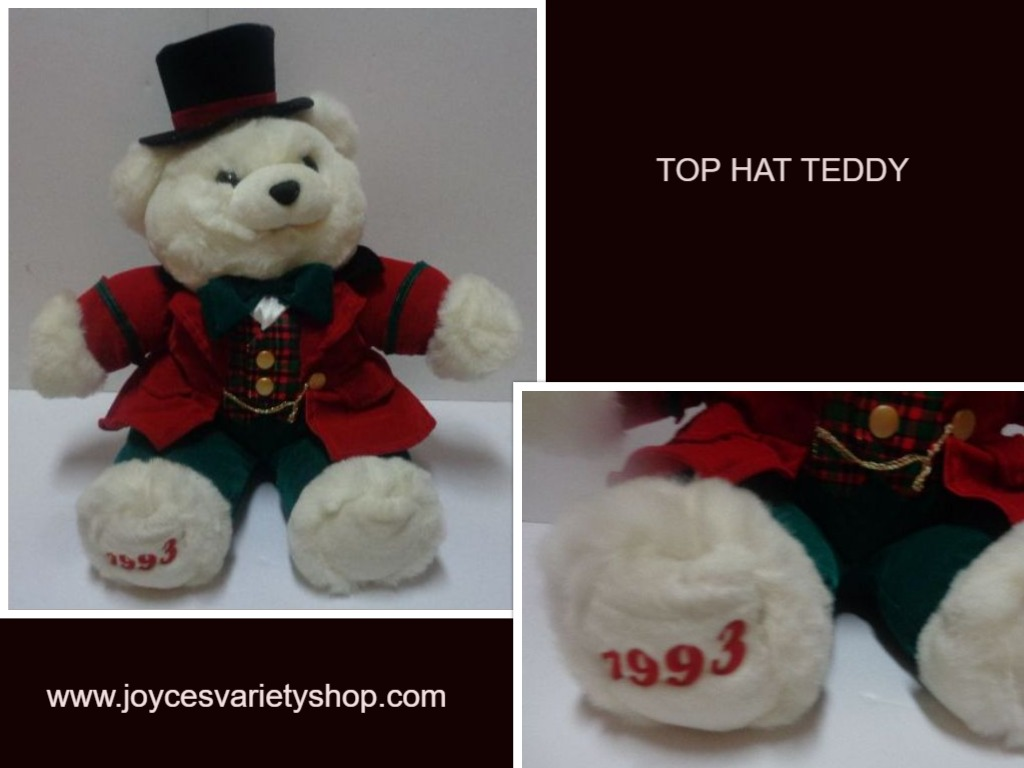 Top Hat Teddy Stuffed Bear 1993 Plush 21""