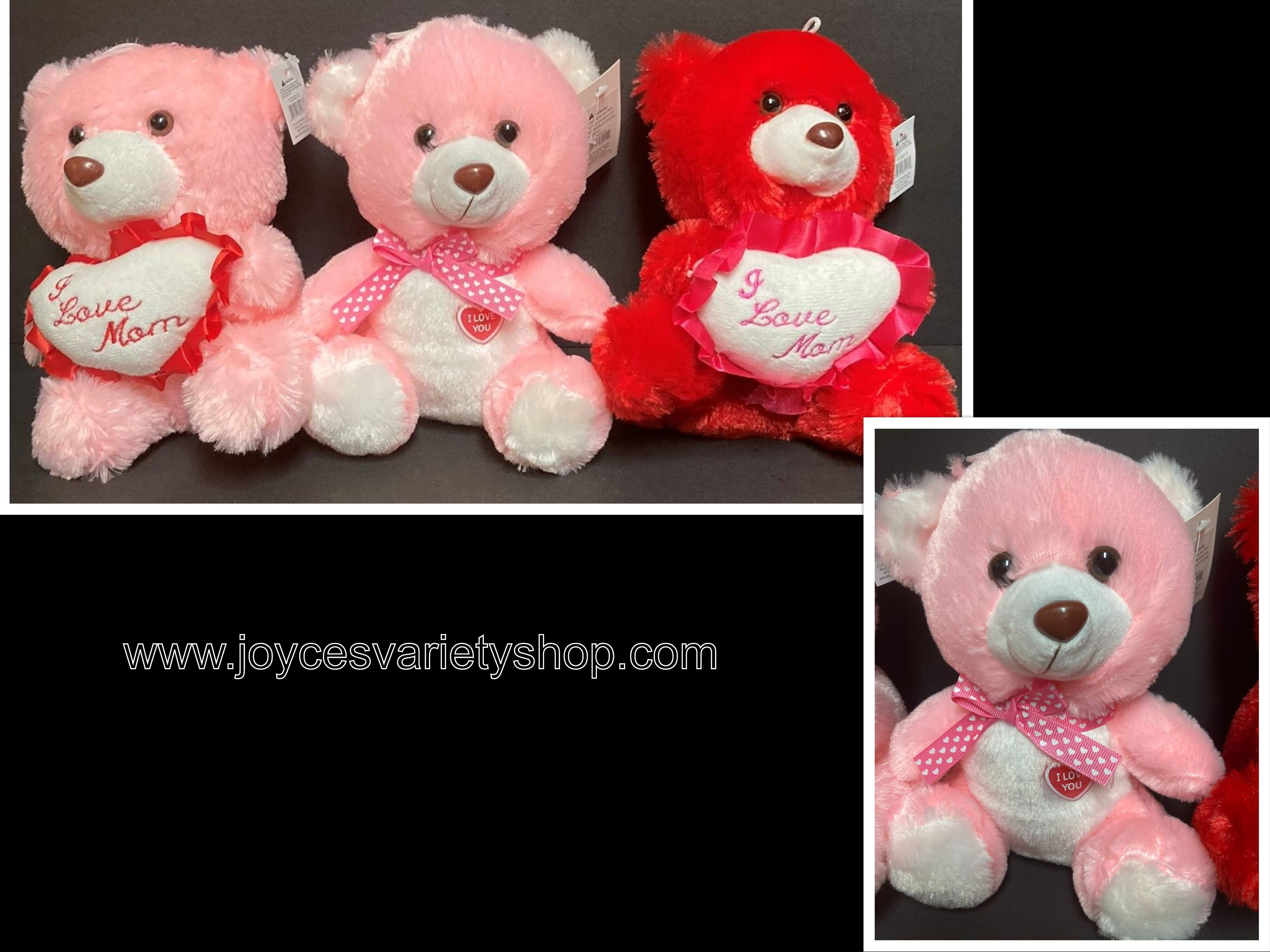 Super Soft Plush Teddy Bear Heart Love Mom Many Styles & Colors 8""