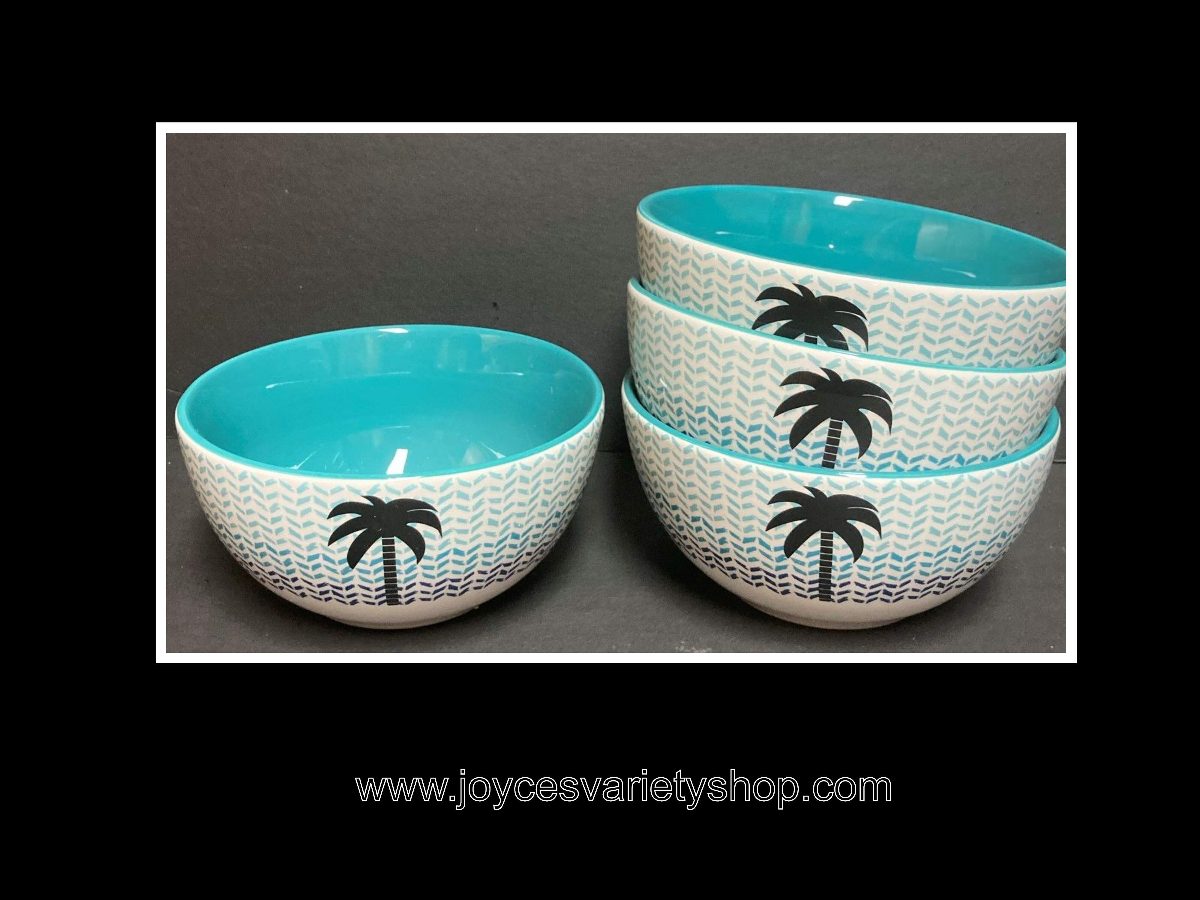 "Ceramic Decor Cereal Soup Bowls Palm Tree Blue Design 6"" Set of 4"