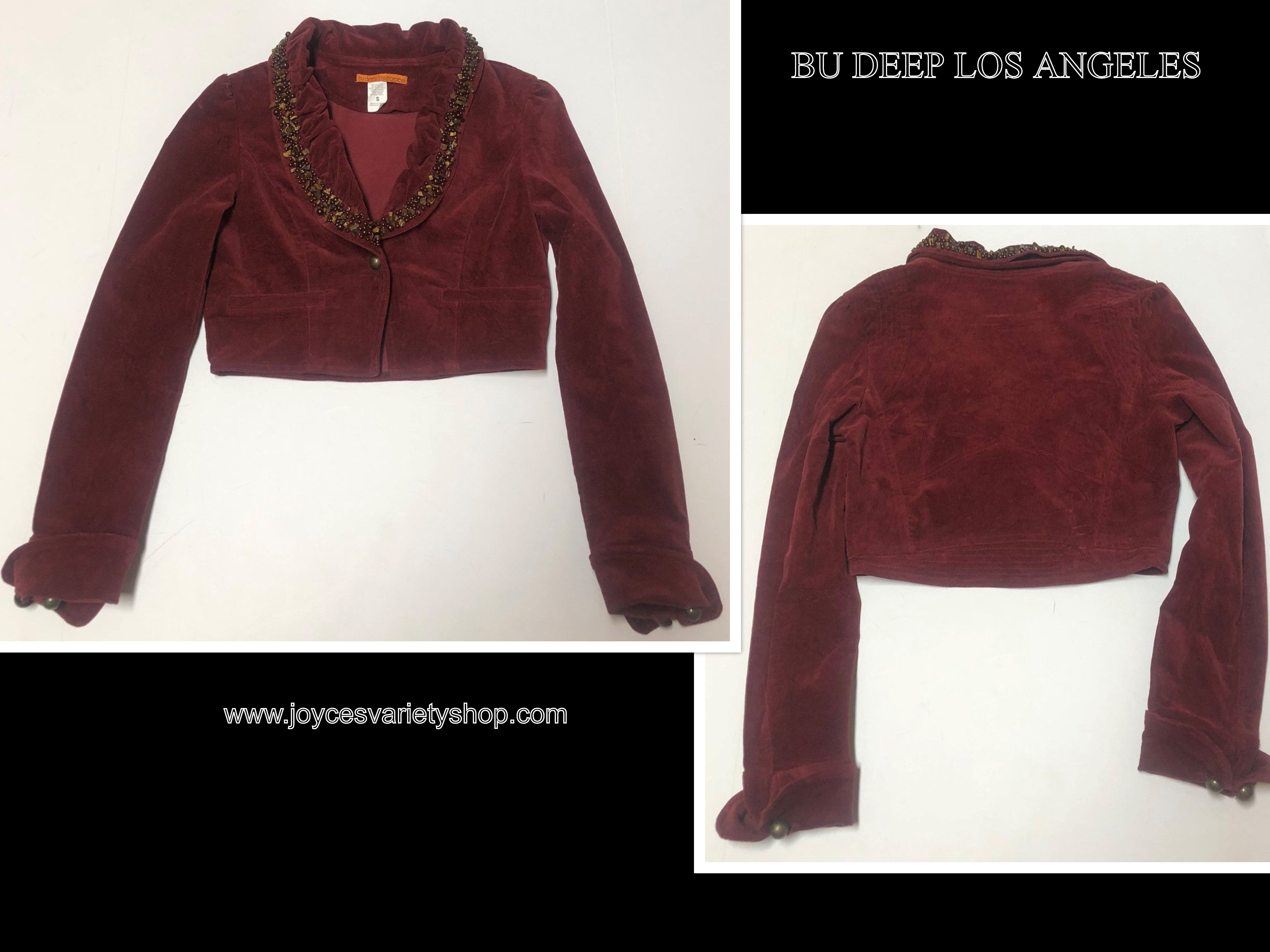 Bu Deep Los Angeles Faux Suede Crop Jacket Beaded Collar Maroon Red Sz Small