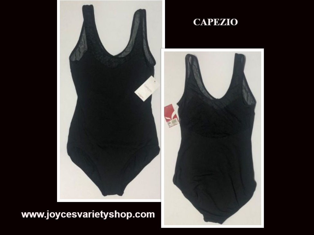 Capezio Leotard Unitard Black Sheer Top Sz L I15