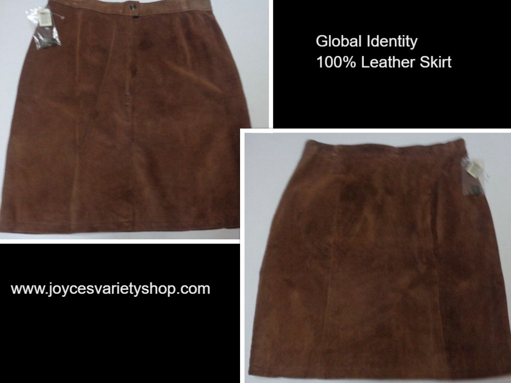 Global Identity Brown Genuine Suede Leather Skirt NWT Sz 13/14