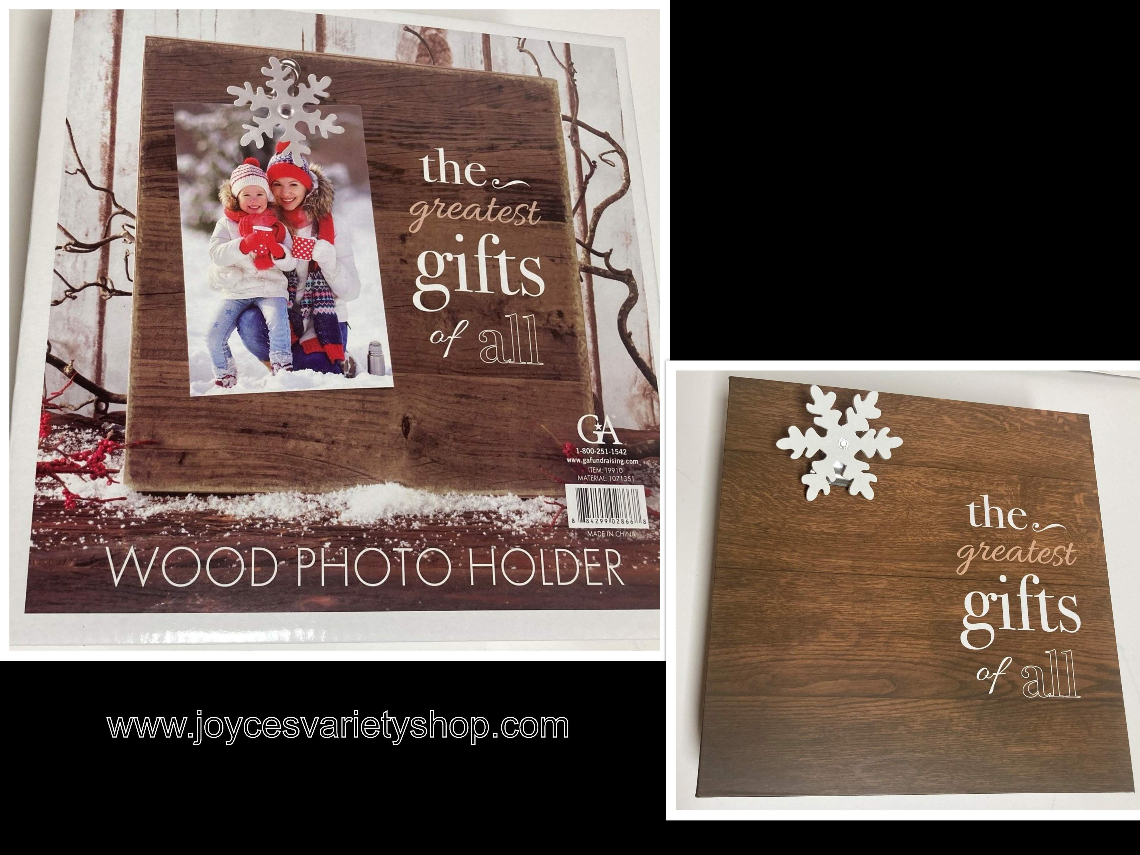 "Wood Photo Holder 9"" x 9"" x 1.5"" Block & Clip ""The Greatest Gift of All"" Holiday"