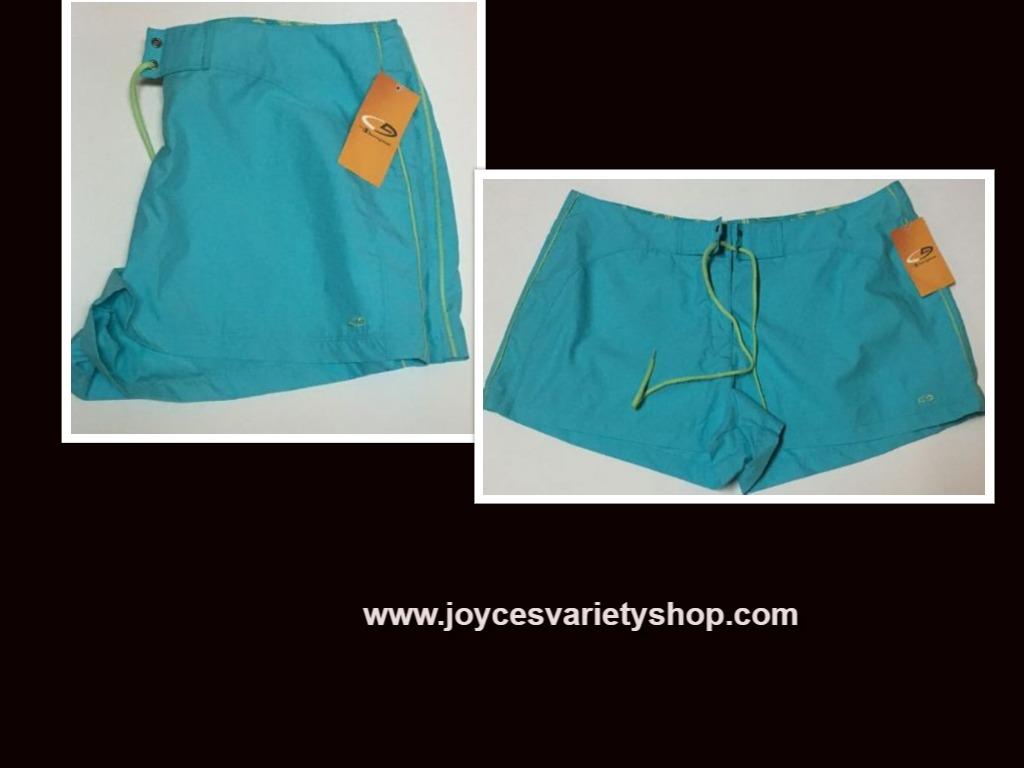 Champion Activewear Shorts Colorwave Aqua Sz XL Velcro Drawstring
