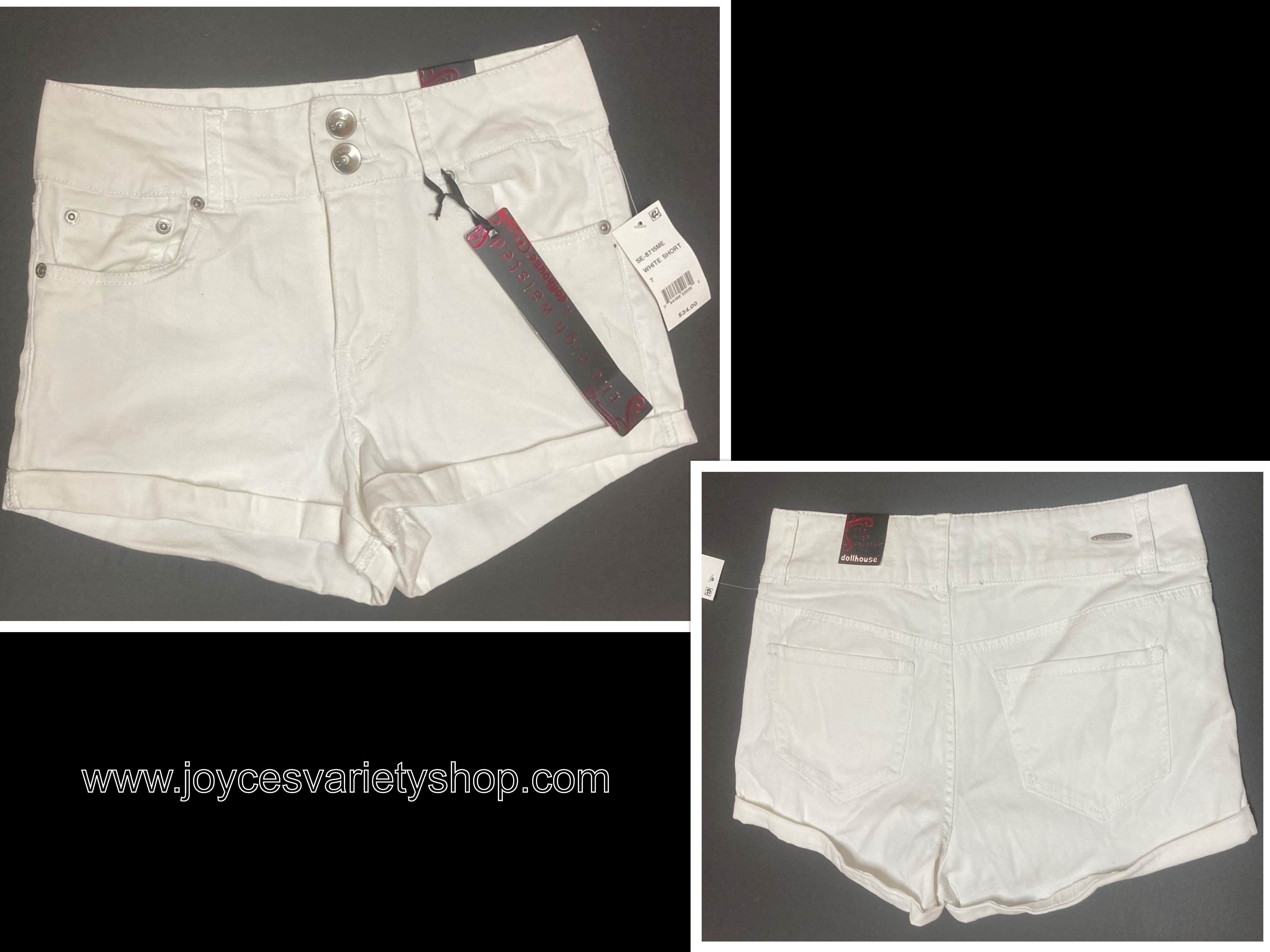 Dollhouse White Shorts High Waisted Sz 7 Stretch
