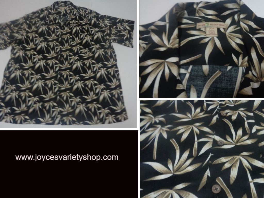 Men's Island Outfitters Hawaii Casual Shirt Sz XLT Black Palm Tree Pattern