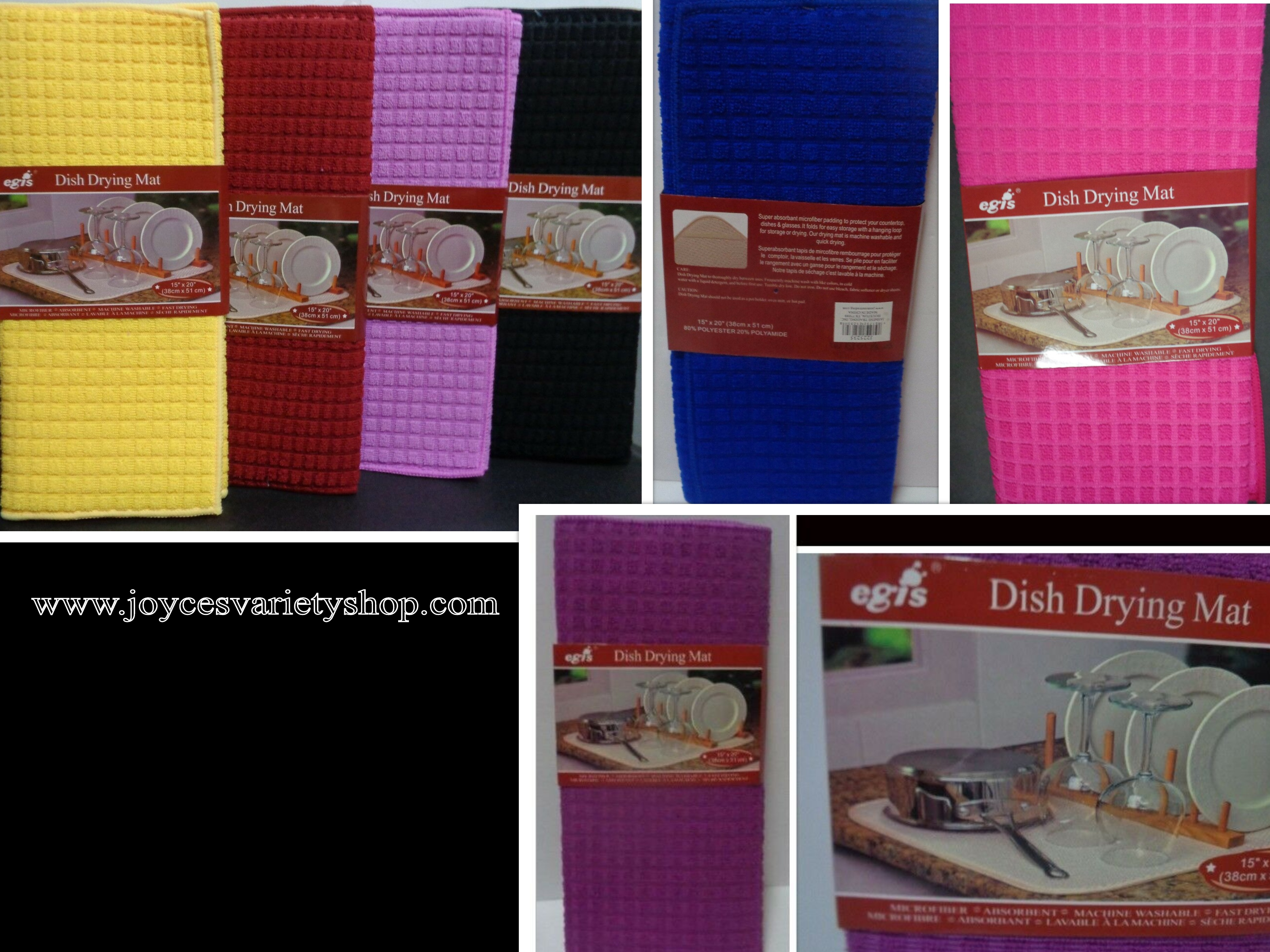 "Dish Drying Mat Microfiber Absorbent Washable Fast Drying Many Colors 15"" x 20"""