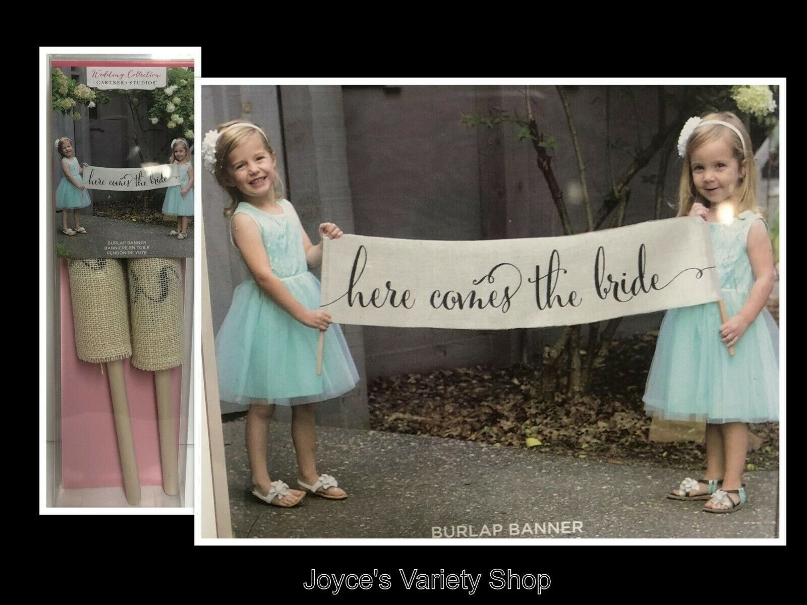 Burlap Wedding Banner Scroll HERE COMES THE BRIDE 36""