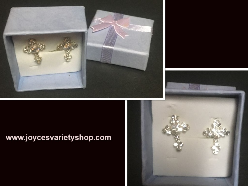 Crystal Avenue Cross Post Earrings