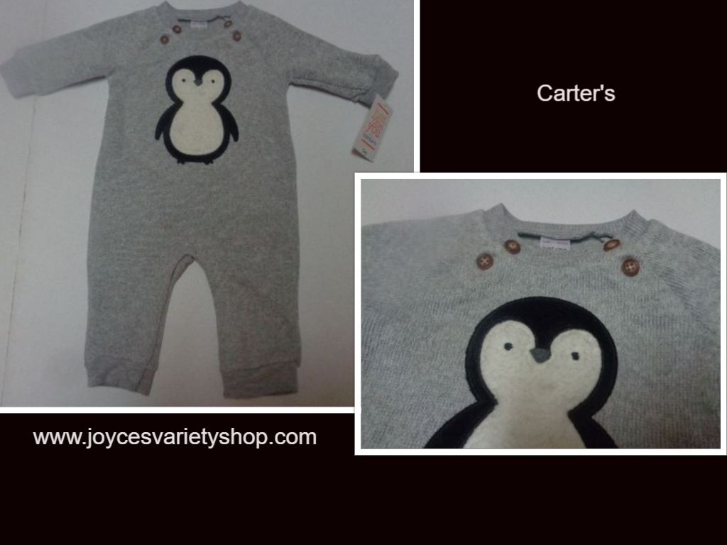 Carter's Just For You One Piece NWT 3 Months Gray Penguin Graphic