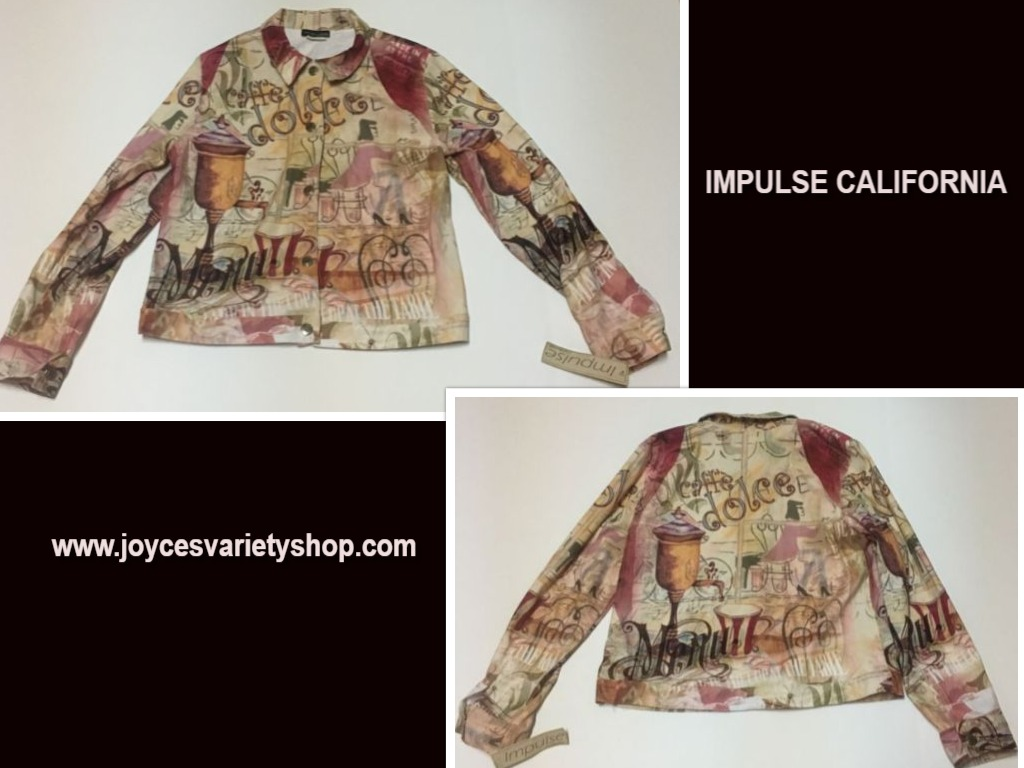 Impulse California Caffe Dolce Coffee Jacket Top Shirt Made USA Sz M NWT