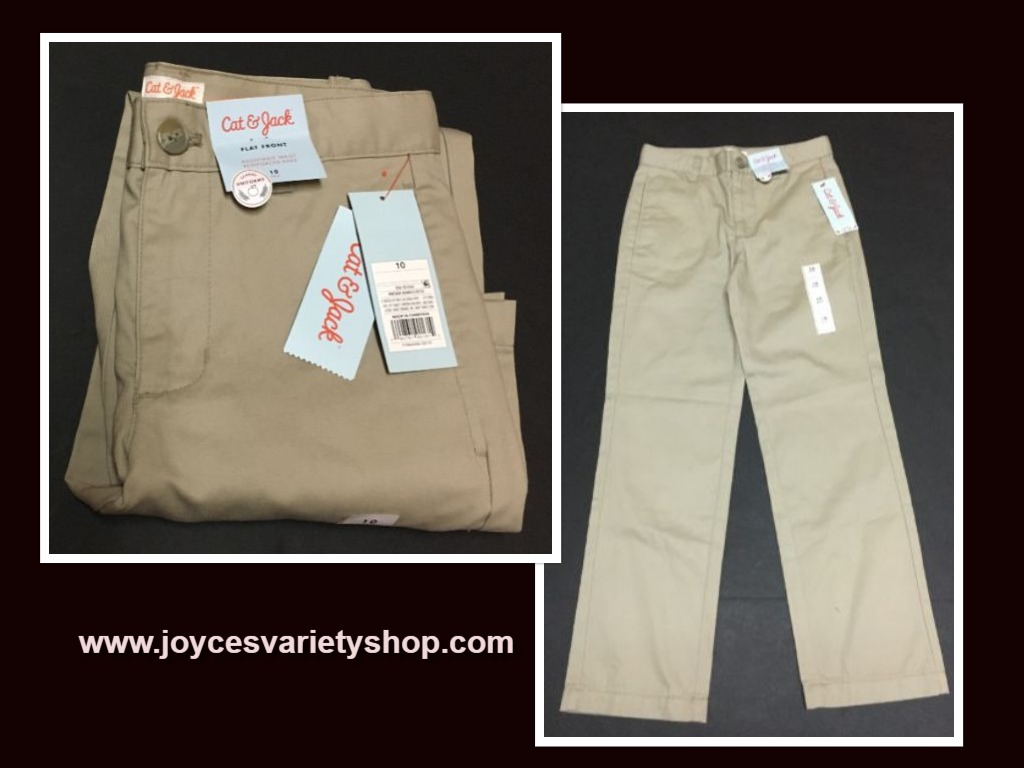 Cat & Jack Boy's Beige School Pants Flat Front Sz 10 Adj Waist Reinforced Knee