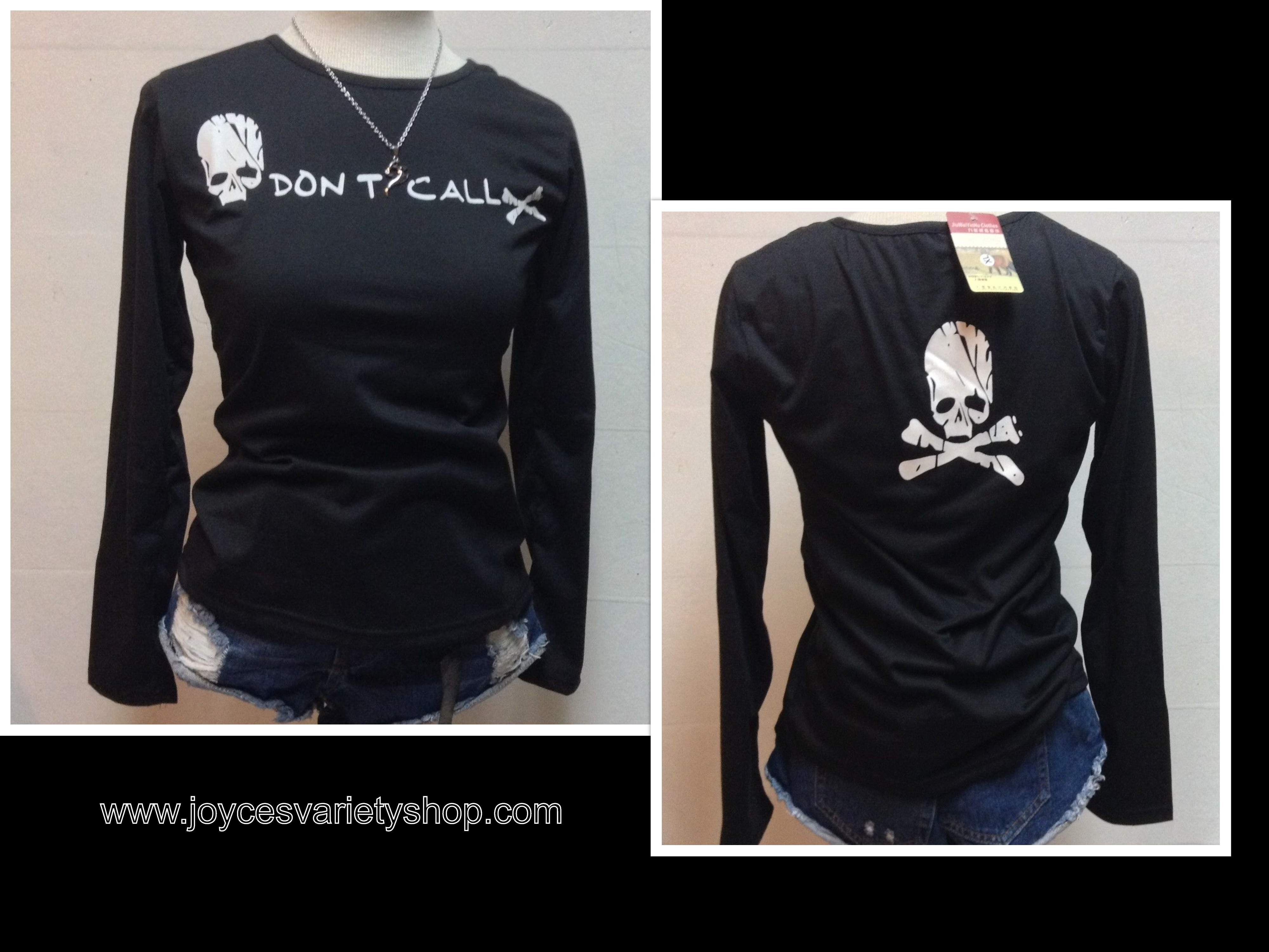 DON'T CALL Skull Shirt Blouse T-Shirt Top Graphic Sz L or M