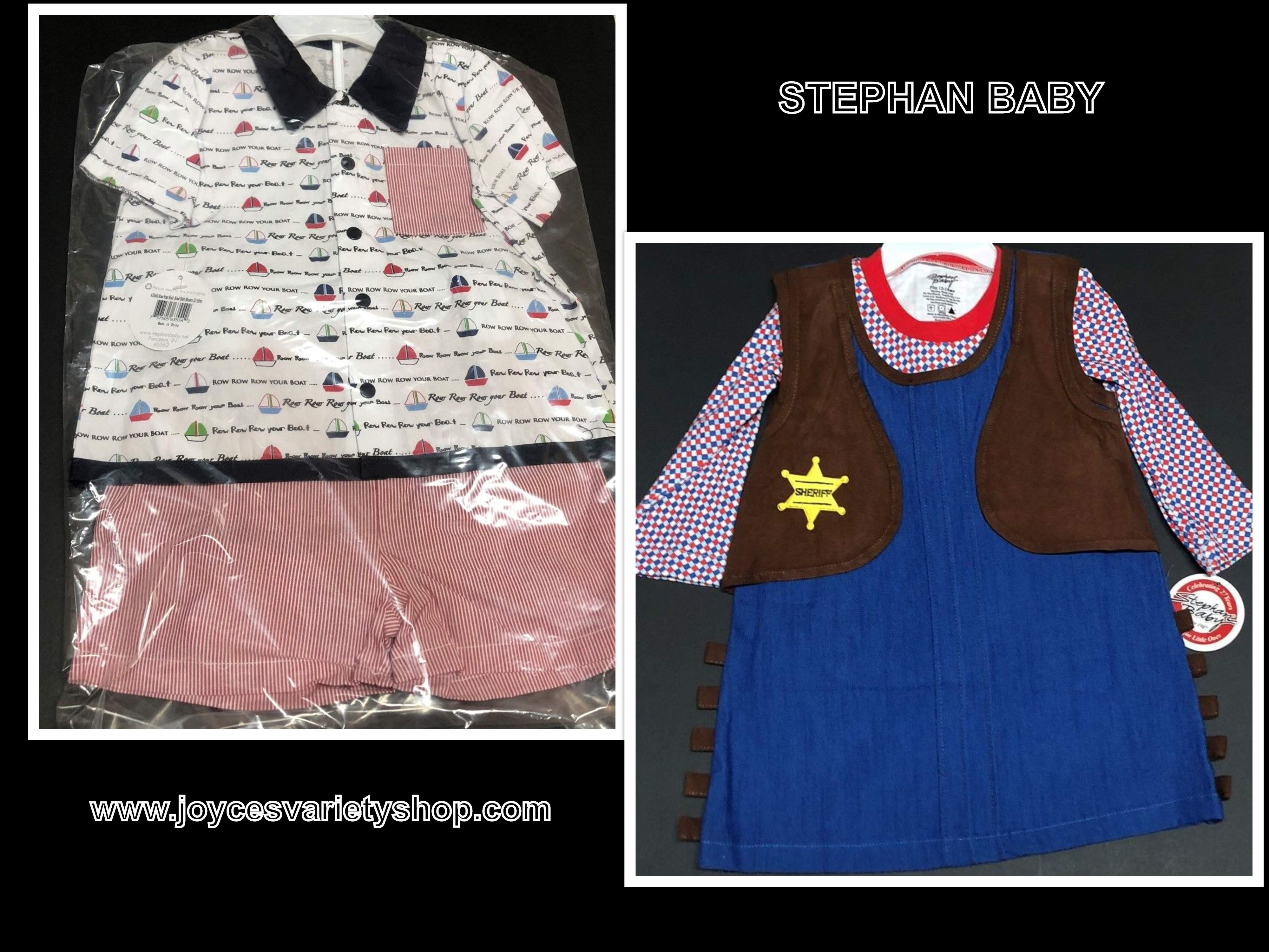 Stephan Baby Two Piece Outfit 100% Cotton Cowgirl Dress or Sailing Short Set