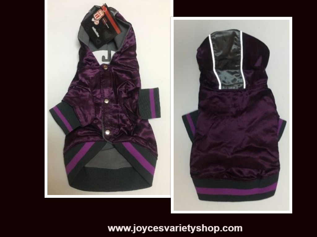 Dog It Reflective Hoodie Jacket Purple & Gray Large & Small